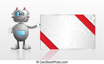 cadeau, spotprent, kaart, robot