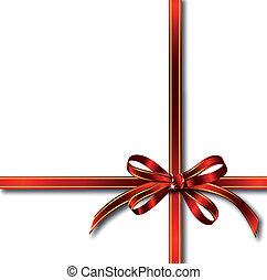 cadeau, sur, vecteur, ruban rouge, white.