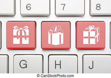cadeau, symbool, op, toetsenbord