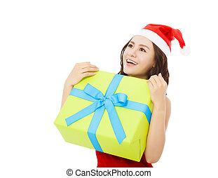 cadeau, tenue, boîte, femme, noël, heureux, jeune
