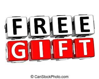 cadeau, texte, bouton, gratuite, ici, déclic, bloc, 3d