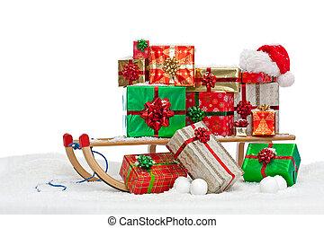 cadeau, traîneau, présente, santa, emballé, chargé