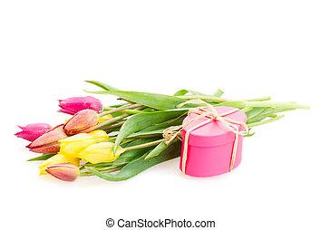 cadeau, tulipes, posy, fleurs, boîte
