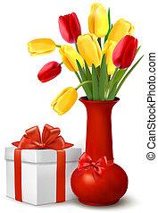 cadeau, vaas, bloemen, doosje