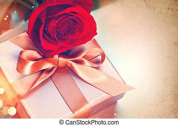 cadeau, valentine, rose, sur, arc, day., fond, vendange, soie, rouges