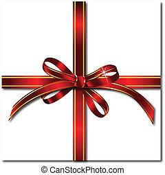 cadeau, vecteur, rouges, bow.