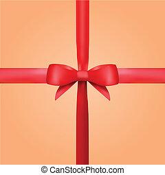 cadeau, vecteur, ruban, arc, rouges