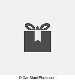 cadeau, vector, pictogram, vrijstaand, witte , illustratie, achtergrond.