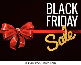 cadeau, vendredi, signe vente, noir, arc, rouges