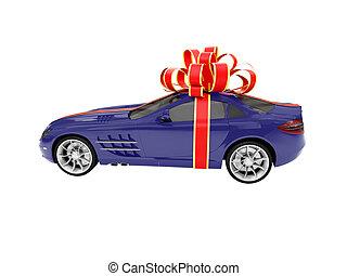 cadeau, vrijstaand, blauwe auto, zijaanzicht