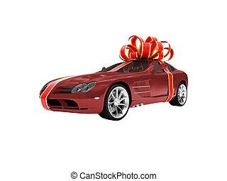 cadeau, vrijstaand, rode auto, vooraanzicht, 01