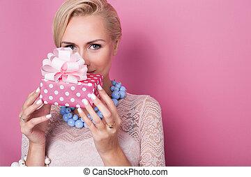 cadeau, vrouwen, kado