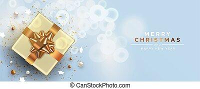 cadeau, vue, année, sommet, cuivre, boîte, nouveau, noël carte