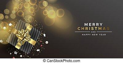 cadeau, vue, sommet, année, boîte, noël, nouveau, carte or