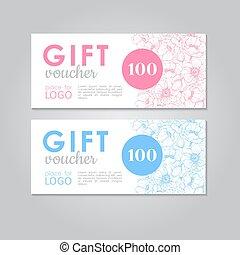 cadeau, zakelijk, voucher., korting, vector, mal, bloemen