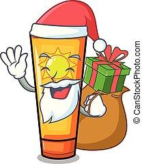 cadeau, zon, kerstman, tafel, spotprent, room