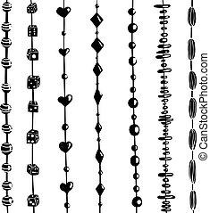 cadeia contas, jogo, preto branco, ilustração