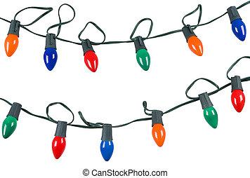 cadeia, de, luzes natal, isolado