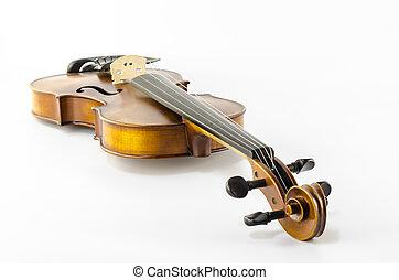 cadeia, isolado, música instrumento, violino, branca