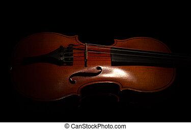 cadeia, música, isolado, instrumento, pretas, violino