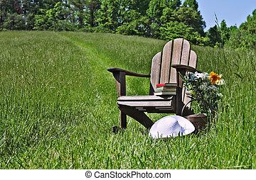 cadeira adirondack, com, flores