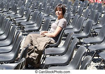 cadeira, assento mulher