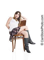 cadeira, bonito, sentando, mulher