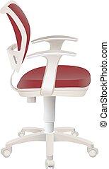 cadeira, branca, isolado, escritório, vermelho
