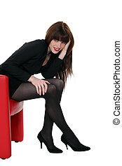 cadeira, couro, atraente, mulher