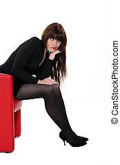 cadeira, desgastar, sentando, mulher, meias, excitado