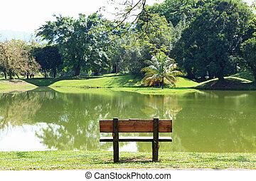 cadeira, em, lago