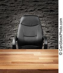 cadeira executiva, em, luxo, escritório, conceito negócio