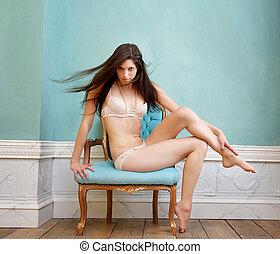 cadeira, jovem, roupa interior, sentando, mulher, bonito, excitado