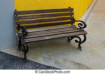 cadeira madeira, fundo, longo, amarela