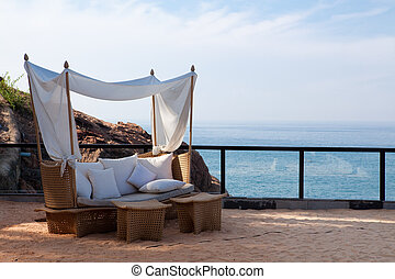 cadeira, mar, convés