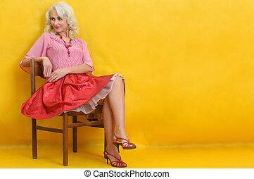 cadeira, mulher