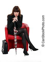 cadeira, mulher, guarda-chuva, vermelho, sentando