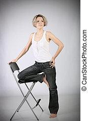 cadeira, mulher, inclinações