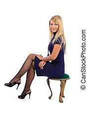 cadeira, mulher, loura, sentando