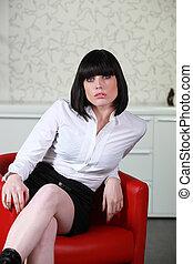 cadeira, mulher, sedutor, vermelho, sentando