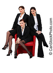 cadeira, mulher, vermelho