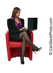 cadeira, mulher, vermelho, sentando