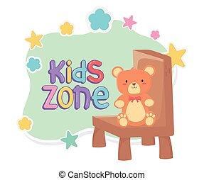 cadeira, pelúcia, sentando, zona, crianças, urso
