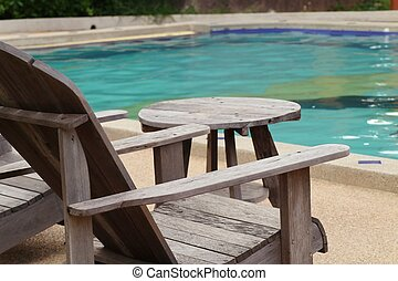 cadeira, piscina, natação