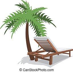 cadeira praia, com, palma