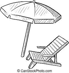 cadeira praia, guarda-chuva, esboço