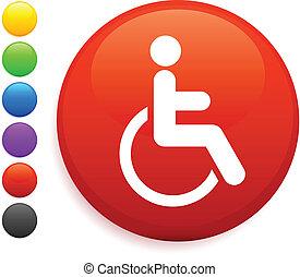 cadeira rodas, ícone, ligado, redondo, internet, botão