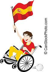 cadeira rodas, bandeira, ventilador, desporto, defensor, espanha