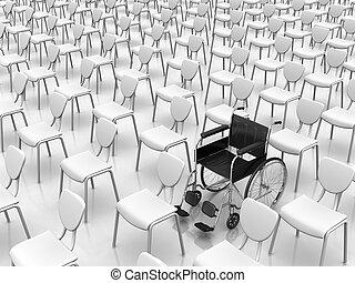 cadeira rodas, conceito, -, individualidade