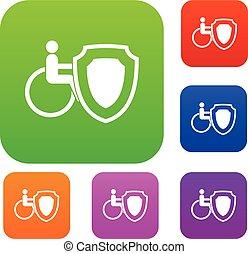 cadeira rodas, e, segurança, escudo, jogo, cobrança